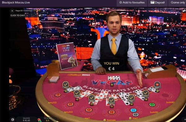 william hill live casino blackjack