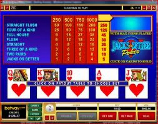 Royal Flush mit 8000 Gewinn beim Jacks or Better Videopoker im Betwaycasino