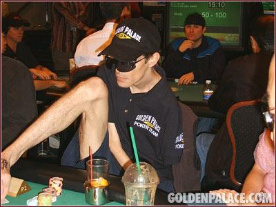 Poker player plays with feet