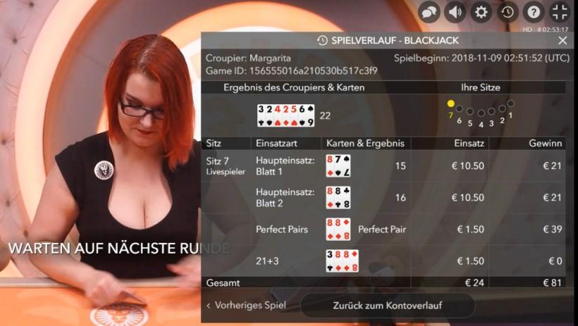 Side Bet-Gewinn beim Live Blackjack