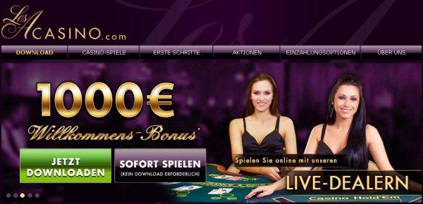 LesA Casino - neues Playtech Casino mit 500 Euro Bonus