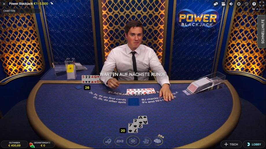 Power Blackjack mit Vervierfachung der Starthand oder nach Split