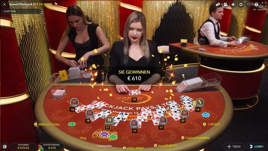 Live Speed Blackjack - die Super Fast Speed Version von Evolution Gaming